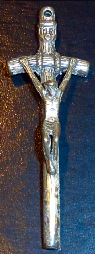 Wood Effect Silver Crucifix Pendant